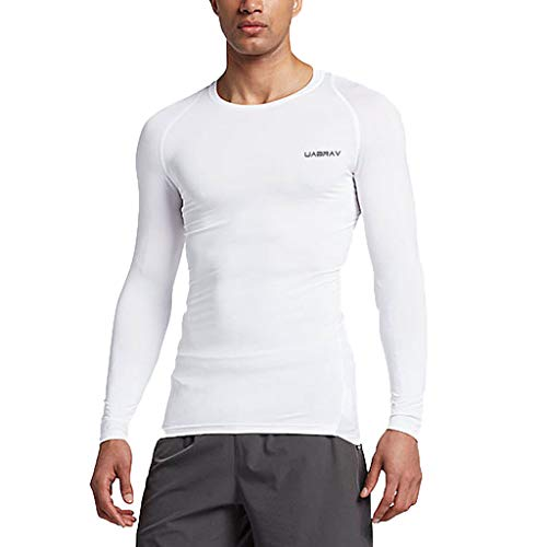 Allywit-Mens New Fitness Training Clothes Long Sleeve Blouse Outdoor Sports Blouse Top White