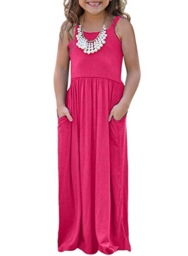 AlvaQ Girls Summer Sleeveless Maxi Dress Soft Cinched Long Casual Dresses Size 8 Rose