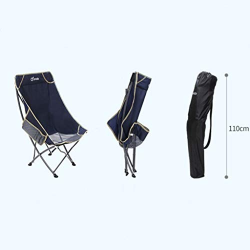 ZQG Outdoor Portable Folding Chair, Back Fishing, Leisure Beach Lounge Chair, Lunch Break Chair, Moon Chair (Color : B)