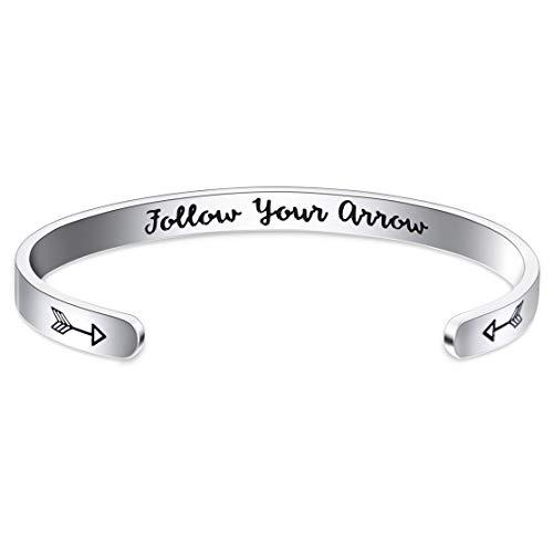 Jdesign Inspirational Bracelet Cuff Bangle Mantra Quote Follow Your Arrow Personalized Engraved Bangle Motivational Encouragement Bracelets for Women Girls Teen