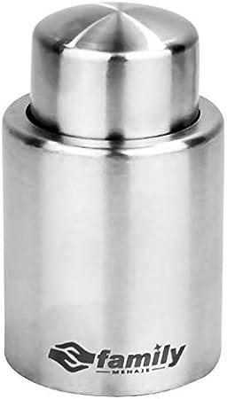 Tapón de Vino,tapón de la Botella de vacío Acero Inoxidable, sellador Cubierta para Mantener el Vino Fresco, Color Plata