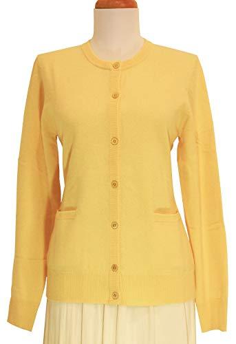 (Shephe Womens Cardigan Round Neck Cashmere Sweater Yellow (Medium))
