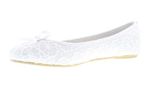Gold Toe Lauren Womens Lace Comfort Ballet Flat,Dressy Formal Bridal Wedding Flats,Womans Dress Shoes for Bride Bride White 10 M US