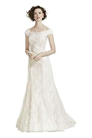 Oleg Cassini Off The Shoulder Lace Wedding Dress Style CWG533 At Amazon Womens Clothing Store
