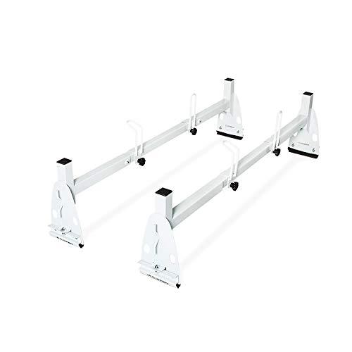 (AA-Racks Model X217 HighTop Square Van ladder Rack Rain-Gutter High Roof Rack 2 Bar Set - White)