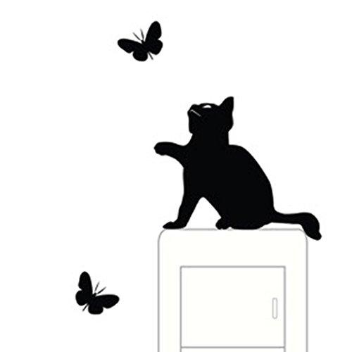 Sticker Switch, ZTY66 New Cat & Butterflies Light Switch Decal Mural Sticker for DIY Home Decor