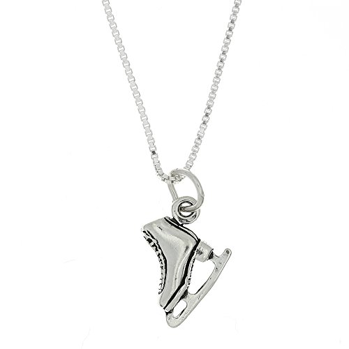 Sterling Silver Oxidized Double Sided Figure Skater Ice Skate Necklace (16 Inches)]()