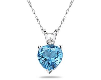 1342b59670d1 6 mm corazón azul topacio y diamantes de colgante en 14 K oro blanco  SZUL   Amazon.es  Joyería