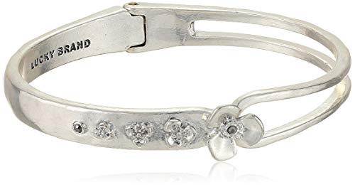 Lucky Brand Floral Hinge Cuff Bracelet, Silver, One Size