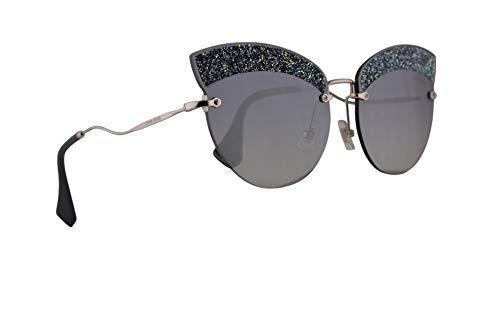 Miu Miu MU58TS Sunglasses Silver w/Grey Gradient Blue Mirror Silver 65mm Lens D47148 MU 58TS SMU 58TS ()