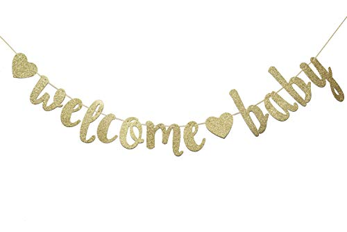 Welcome Baby Gold Glitter Banner- Baby Shower,Pregnancy Announcement, Gender Reveal Party Supplies (Gold) -