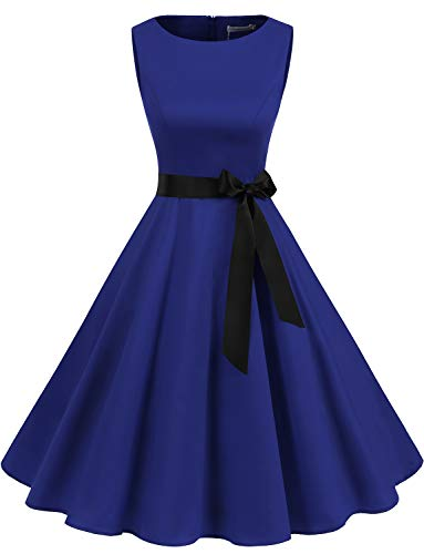 Gardenwed Women's Audrey Hepburn Rockabilly Vintage Dress 1950s Retro Cocktail Swing Party Dress Royal Blue L