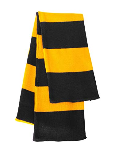Rugby Stiped Knit Scarf, Color: Black/ Gold, Size: One Size
