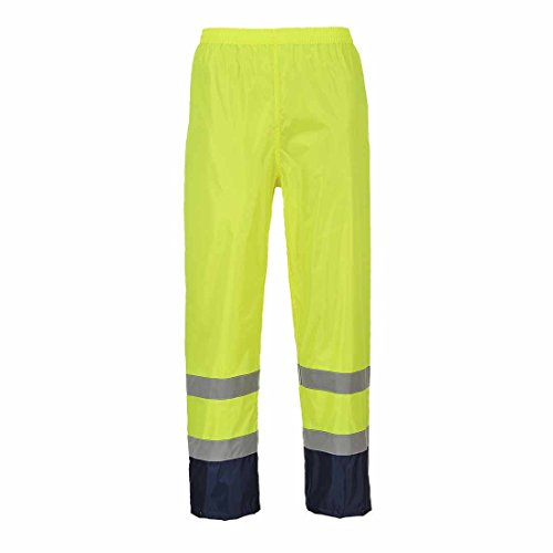 Portwest H444YNRXL Series H444Hi-Vis classico contrasto pioggia pantaloni, regular, misura: XL, colore: Giallo/blu scuro