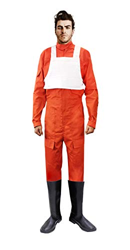 X-wing Rebel Fighter Pilot Orange Jumpsuit + White Flak Vest Star Wars Costume (M)]()
