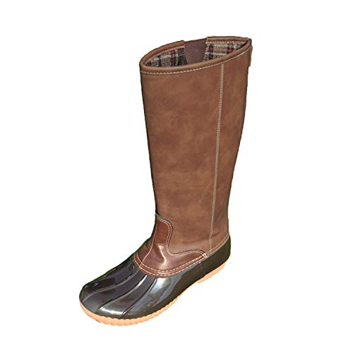 MONOBLANKS Fashion Women's Leather Tall Duck Boots Plaid Lined Boots Can be Monogrammed (7, Brown) ()