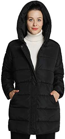 4HOW Womens Hooded Warm Winter Puffer Coat Mid Length Parka Water Resistant Jacket