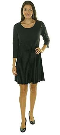 Calvin Klein Women's Striped Two Toned Honeycomb Knit Dress (L, Charcoal/Black)