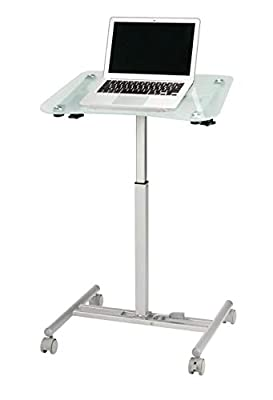 """Realspace Height-Adjustable Tempered-Glass Laptop Cart, 29-9/16""""H x 19-15/16""""W x 23-5/8""""D, Clear"""