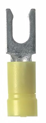 (Panduit PV10-8LF-L Locking Fork Terminal, Funnel Entry, Butted Seam, 12 - 10 AWG, #8 Stud Size, Vinyl Insulated)