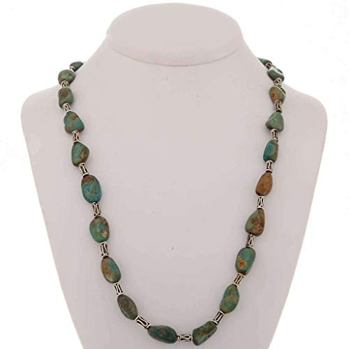 (Navajo Green Turquoise Necklace Nuggets Silver Beads 0201)
