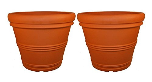Tusco Products T30 Rolled Rim Pot, Round, Terra Cotta, 30-inch (1, 30-inch (2-Pack)) ()