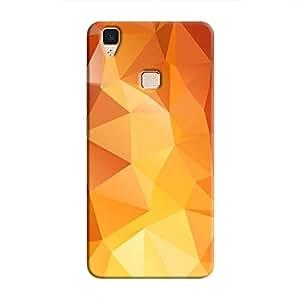 Cover It Up - Orange White Pixel Triangles Vivo V3 Hard Case