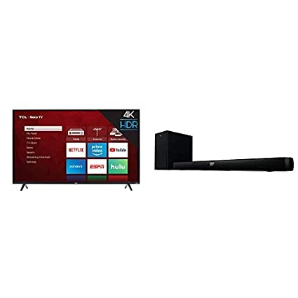 TCL 55S425 55 inch 4K Smart LED Roku TV (2019) and TCL Alto 7+ 2 1 Channel  Home Theater Sound Bar with Wireless Subwoofer - TS7010, 36