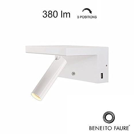 Beneito Faure Beam 230 V LED 5 W 2700 K 380lm Regulador 2 x USB lámpara de pared ajustable blanco: Amazon.es: Iluminación