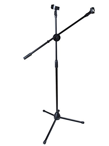 TMS Dual Mic Clip Microphone Stand 360-degree Rotating Folding Type Boom Arm (Best Tms Music Stands)