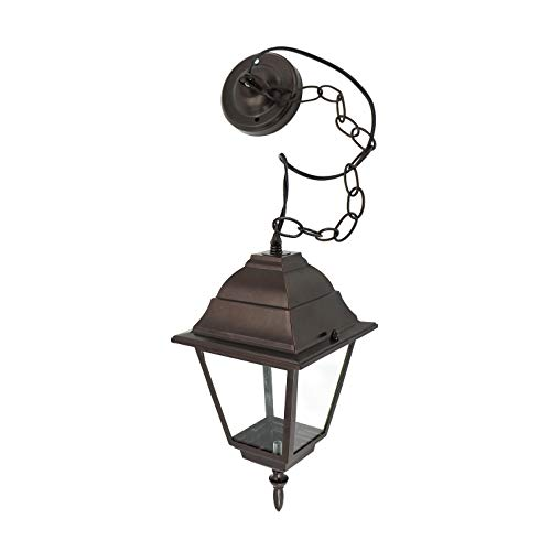 IN HOME 1-Light Outdoor Pendant Lantern L02 Series Traditional Design Bronze Finish Clear Glass Shade, ETL Listed ()