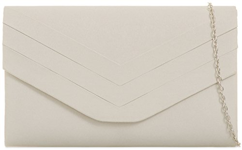 enveloppe G Rouge H Suede Faux amp; Pochette ordinaire Ivory AgHHqX5x