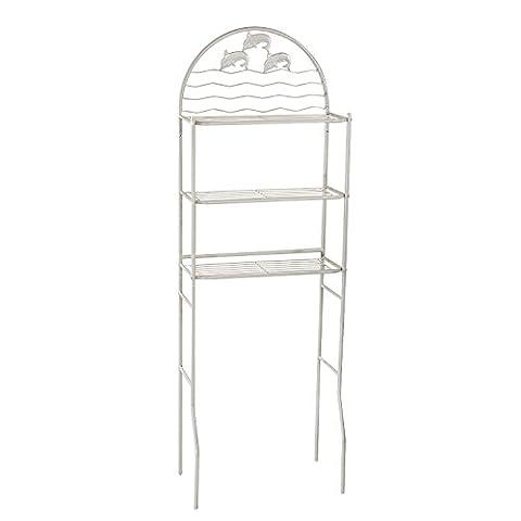 Adeco Dolphin Design Bathroom Storage Space Saver 3 Shelves Grey Finish - Above Storage Bed Sets