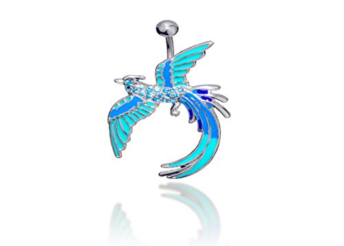 g Peacock Surgical Steel Belly Button Ring 14 G 3/8 Bar Length with Light Blue Cubic Zirconia ()