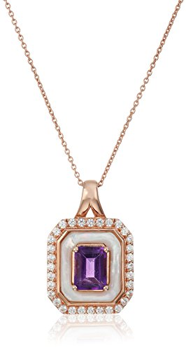 Sterling Silver with Pink Gold Plating Amethyst and Mothe...