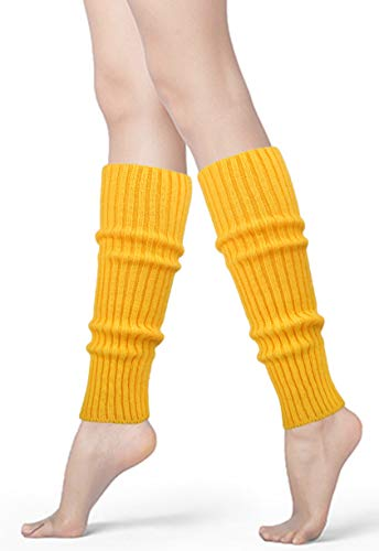 Womens 80s Neon Ribbed Knit Crochet Dance Yoga Leg Warmers Long Socks (Yellow(1 pair))]()