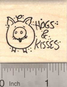 Valentine's Day Hogs and Kisses, Pig Rubber Stamp