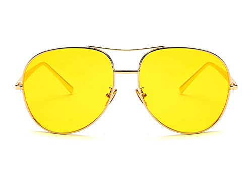 Women Oversized Sunglasses Gold Metal Classic Aviator Shades Colorful Lenses (Gold/Yellow, 61)]()
