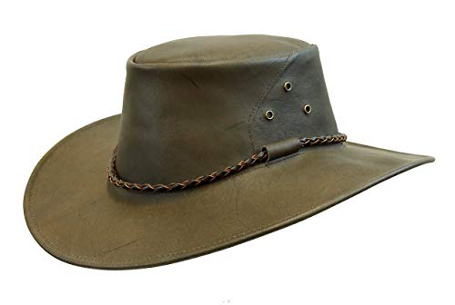 (Kakadu Australia Narrabeen Traveller Leather Hat-Kangaroo Leather Made in Australia)