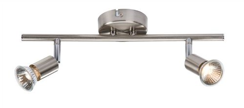 Knightsbridge nspgu2bc gu10 100 watt 2 x halogen brushed chrome spot knightsbridge nspgu2bc gu10 100 watt 2 x halogen brushed chrome spot light fixed on track suitable aloadofball Gallery