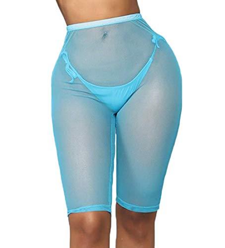 Doqcey Women's Perspective Sheer Mesh Ruffle Pants Swimsuit Bikini Bottom Cover up (Blue(Above Knee), X-Large)