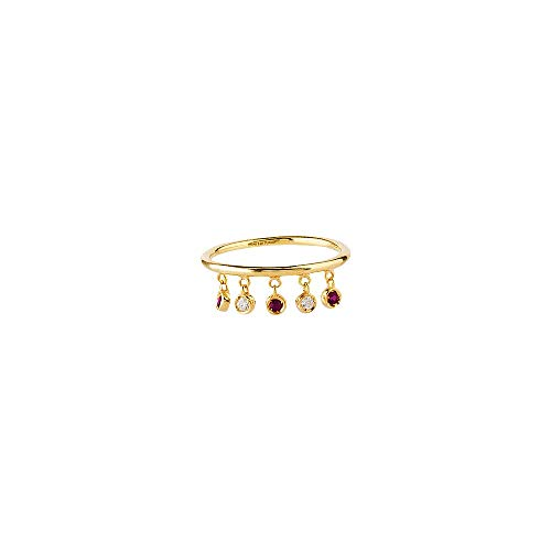 14kt Yellow Gold 1/20Ct Dia-3 Ruby Dangle Element Ring