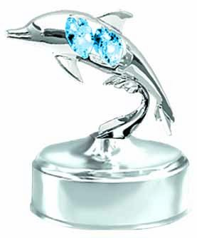 Chrome Dolphin Music Box - Blue Swarovski Crystal ()