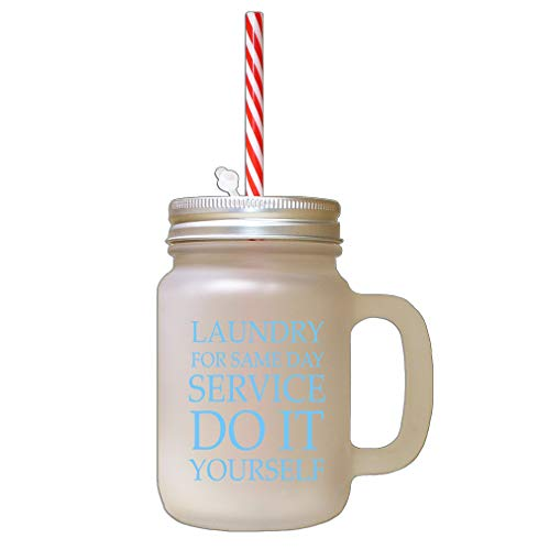 Light Blue Laundry For Same Day Do It Yourself #2 Frosted Glass Mason Jar With Straw
