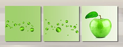 Wowdecor Canvas Prints Wall Art - 3 Panels Still Life Green Apple Painting Printed on Canvas, Wall Decor Posters Wall Decorations Gift - Ready to Hang