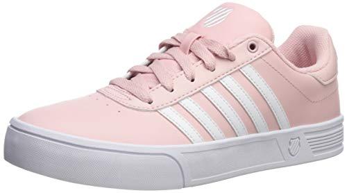 (K-Swiss Women's Court Lite Stripes Sneaker, White/Peachy, 7.5 M US)