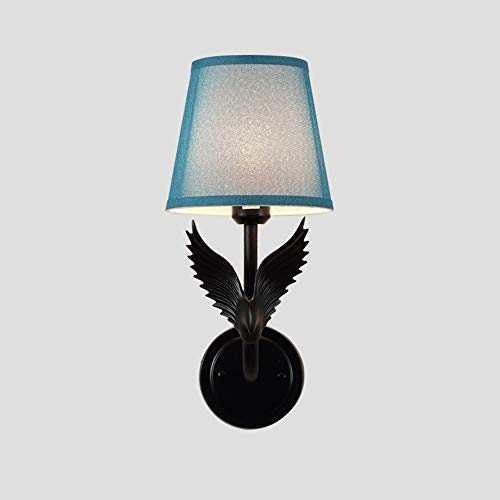 - Resin Eagle Wall Lamps Living Room TV Background Wall Lights Simple Modern Bedroom Bedside Decorative Lighting (Color : Black Body Blue, UnitCount : White Light)