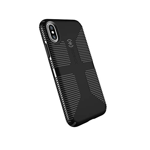 Rubberized Black Case Protector Shield (Speck Products CandyShell Grip Cell Phone Case for iPhone XS/iPhone X - Black/Slate Grey)