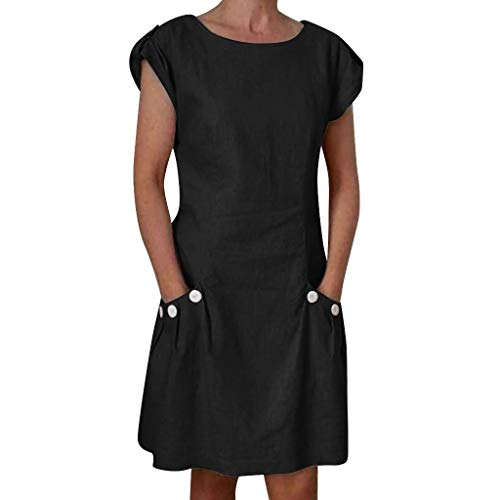 CCOOfhhc Womens Dressws Summer O-Neck Boho Sleeveless Button Up Beach Mini Dress Casual T-Shirt Short Dress with Pocket Black