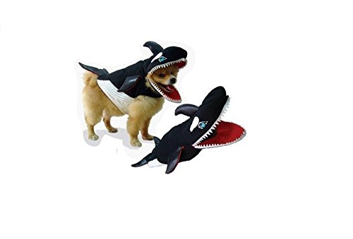 Killer Whale Dog Costume Realistic Foam Filled Body Gills Big Teeth Choose Size (Size 1) - Killer Whale Costume For Dogs